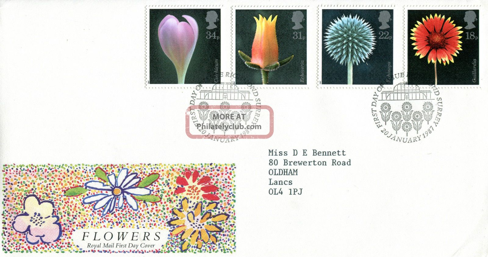 20 January 1987 Flowers Royal Mail First Day Cover Kew Richmond Shs (w) Topical Stamps photo
