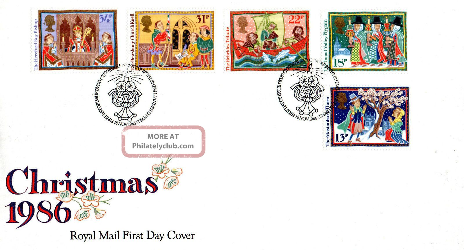 18 November 1986 Christmas Royal Mail First Day Cover Bethlehem Shs (u) Topical Stamps photo