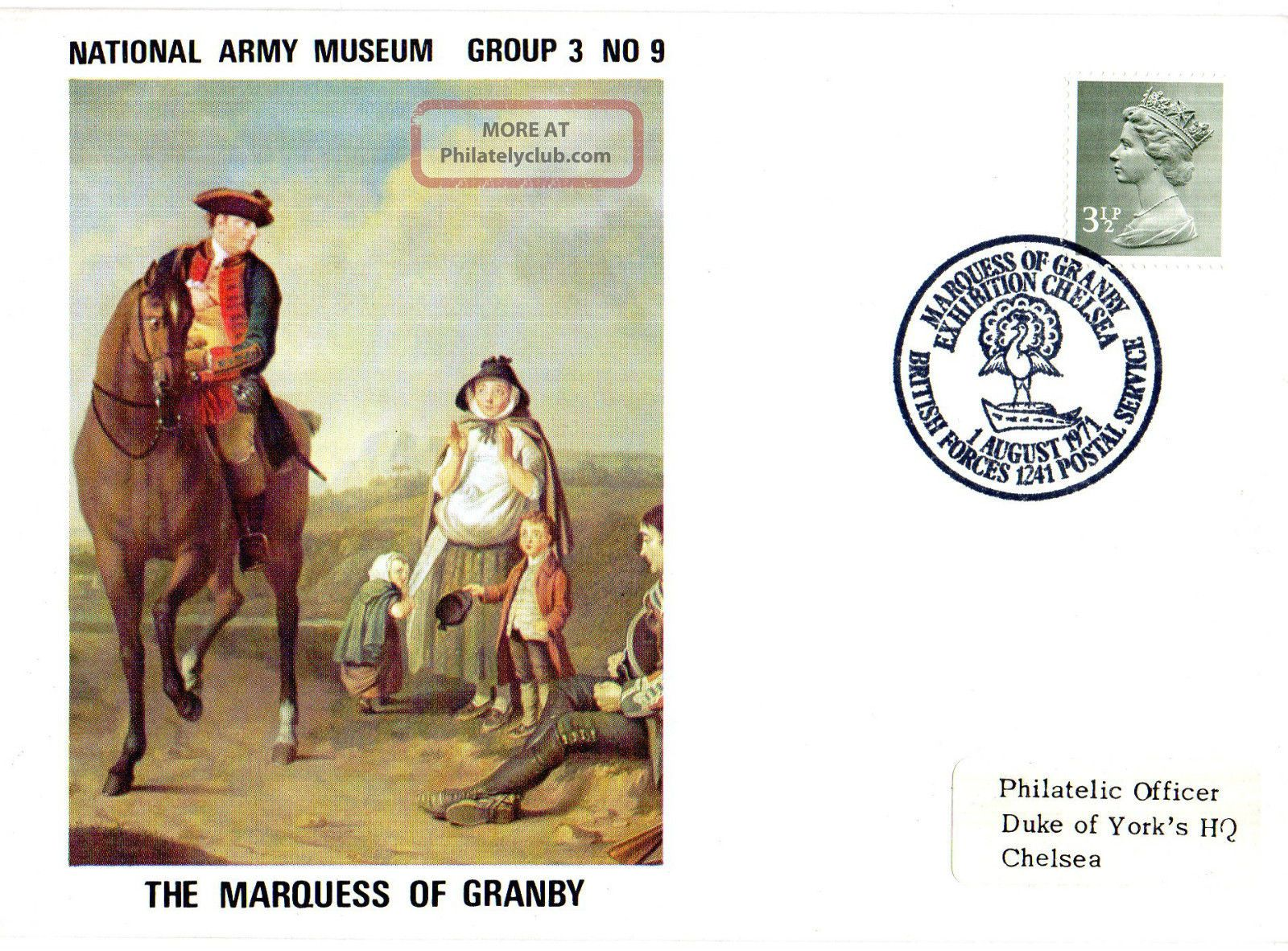 1971 Marquess Of Granby 3/9 Army Museum Commemorative Cover Shs Topical Stamps photo