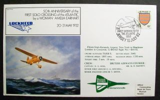Gb Cover 50th Anniv.  Amelia Earhart Solo Atlantic Crossing 10/07/82 Jersey Shs photo