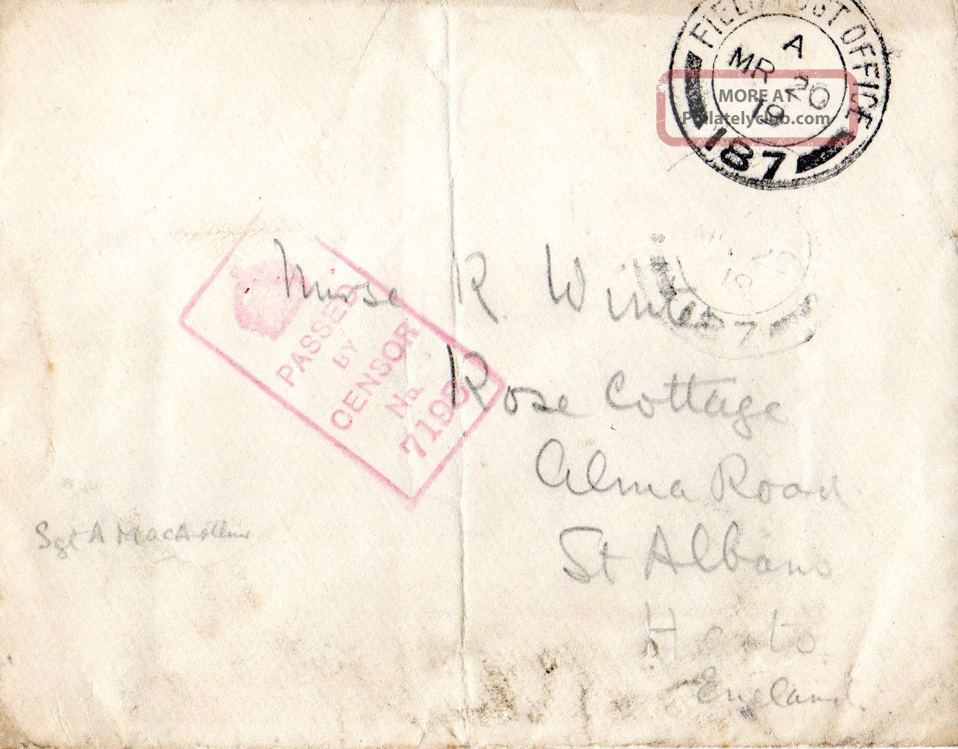 Gb 20 March 1919 World War 1 Soldiers Post Envelope Field Post Office & Censor Topical Stamps photo