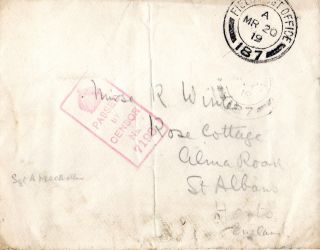 Gb 20 March 1919 World War 1 Soldiers Post Envelope Field Post Office & Censor photo