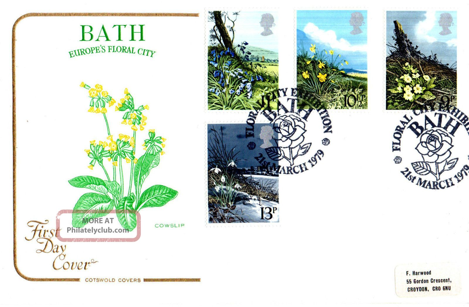 21 March 1979 Spring Flowers Cotswold First Day Cover Floral City Bath Shs (a) Topical Stamps photo