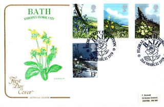 21 March 1979 Spring Flowers Cotswold First Day Cover Floral City Bath Shs (a) photo