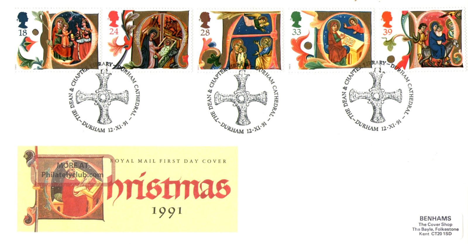12 November 1991 Christmas Royal Mail First Day Cover Durham Cathedral Shs Topical Stamps photo