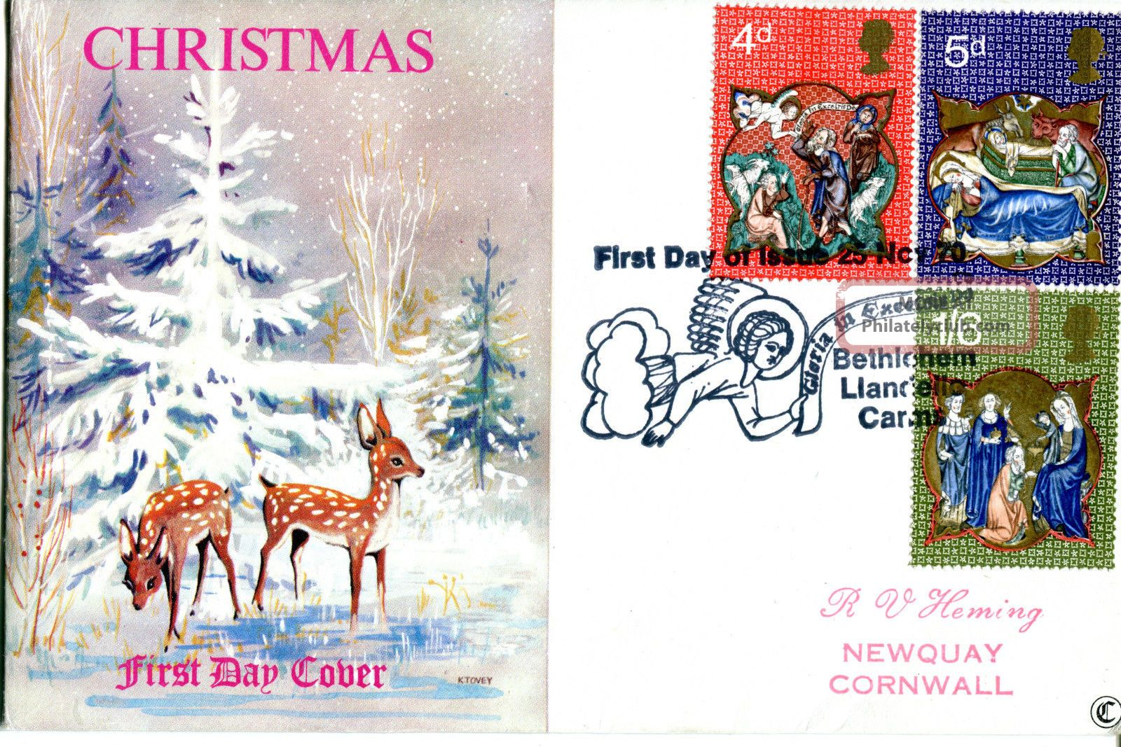 25 November 1970 Christmas Connoisseur First Day Cover Bethlehem Shs Topical Stamps photo