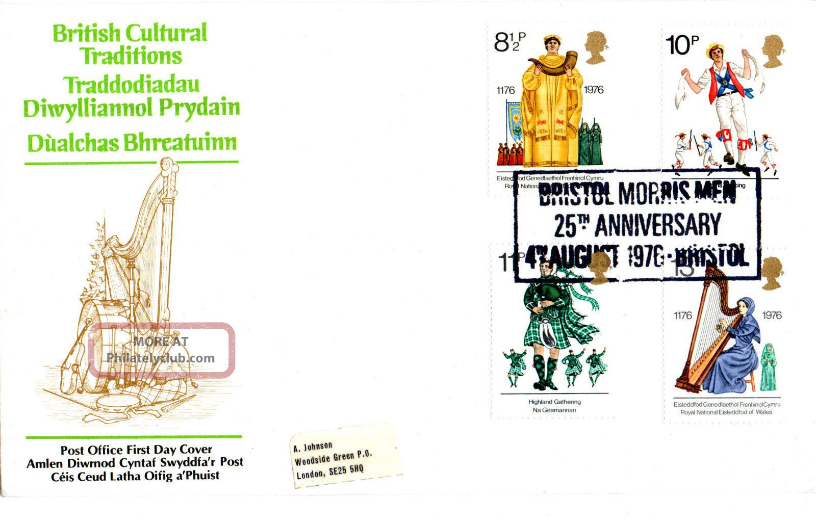 4 August 1976 British Cultural Traditions Po First Day Cover Bristol Morris Men Topical Stamps photo