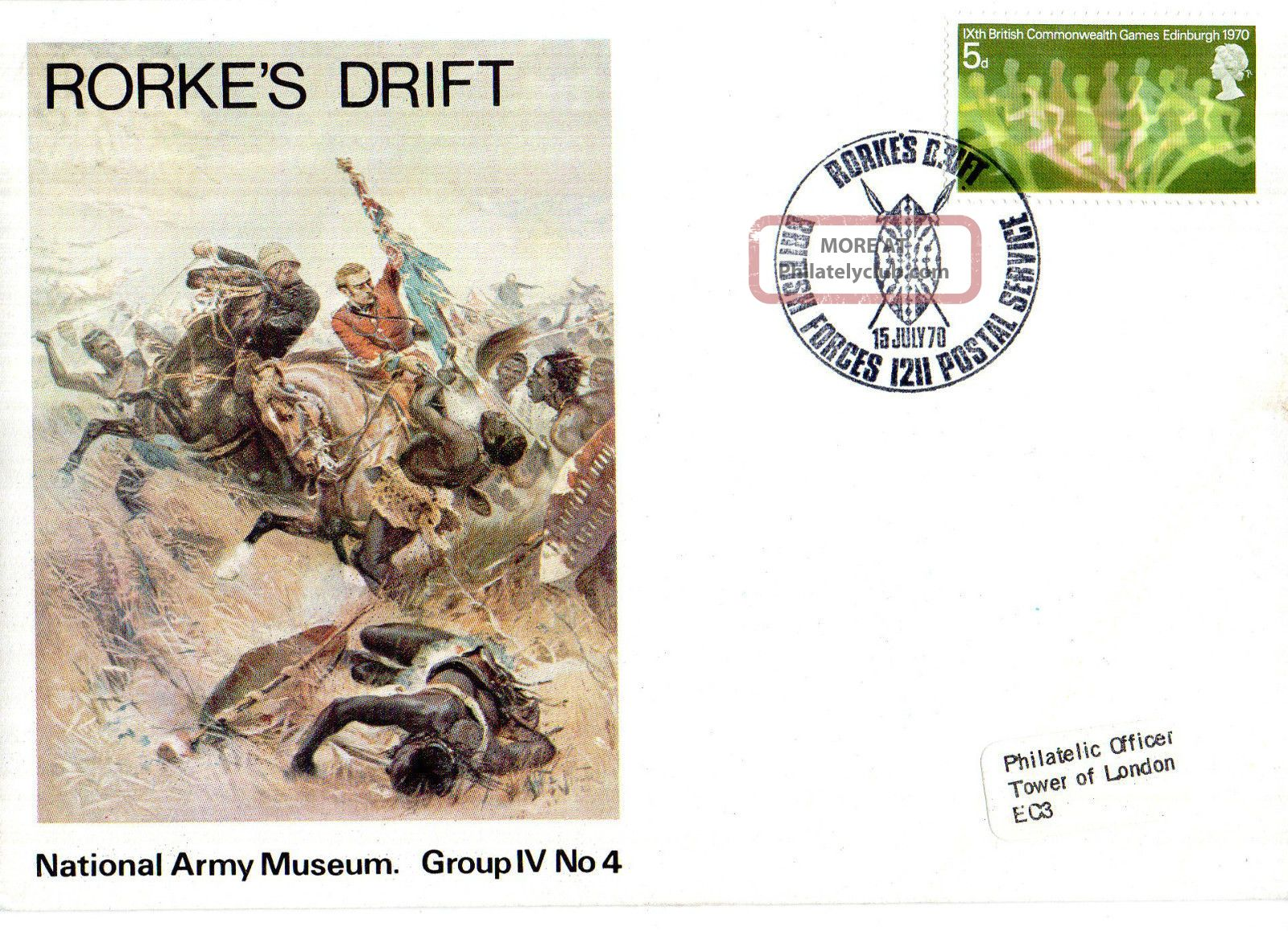 1970 Rorkes Drift Iv/4 Army Museum Commemorative Cover Shs Topical Stamps photo