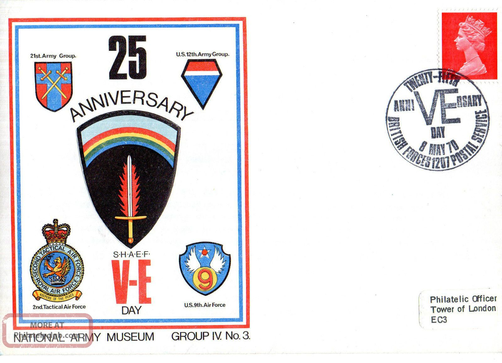 1970 25th Anniversary Of Ve Day Iv/3 Army Museum Commemorative Cover Shs Topical Stamps photo
