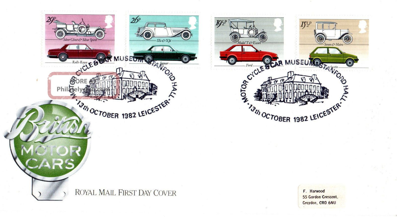 13 October 1982 British Motor Cars Royal Mail First Day Cover Stanford Hall Shs Transportation photo