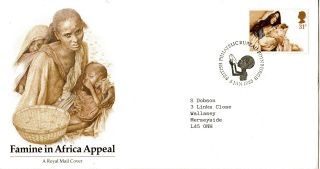 5 January 1985 Famine In Africa Royal Mail Commemorative Cover Bureau Shs photo