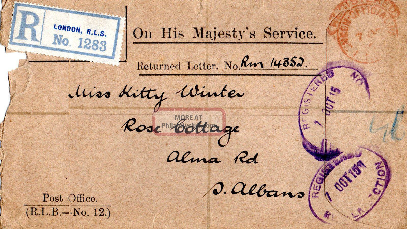 Gb 7 October 1915 World War 1 Registered Envelope Topical Stamps photo