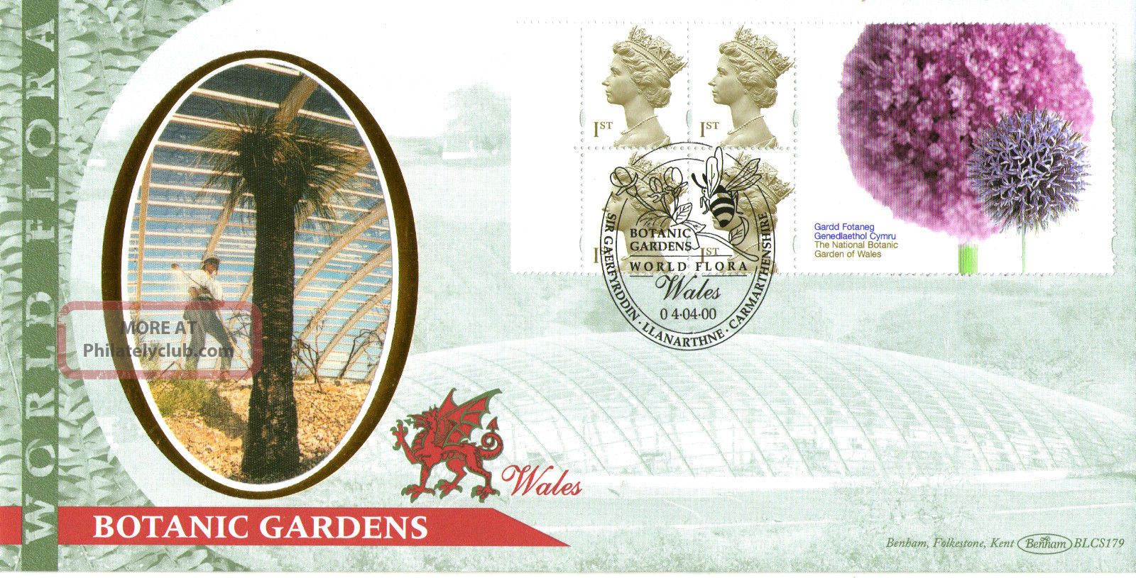 4 April 2000 Botanic Label Benham Blcs 179 Fdc World Flora Wales Shs Topical Stamps photo