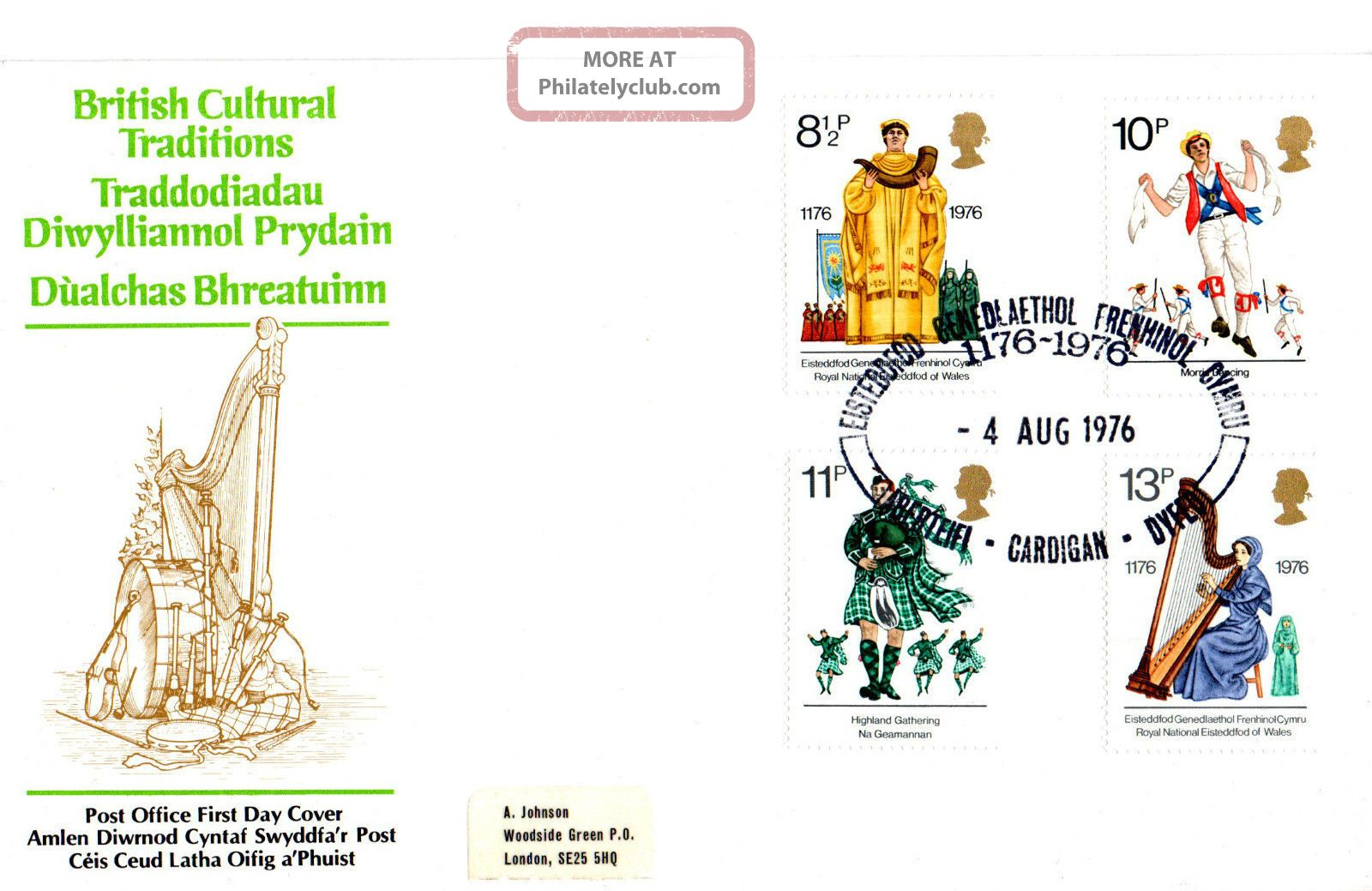 4 August 1976 British Cultural Traditions Po First Day Cover Eisttedfod Cardigan Topical Stamps photo