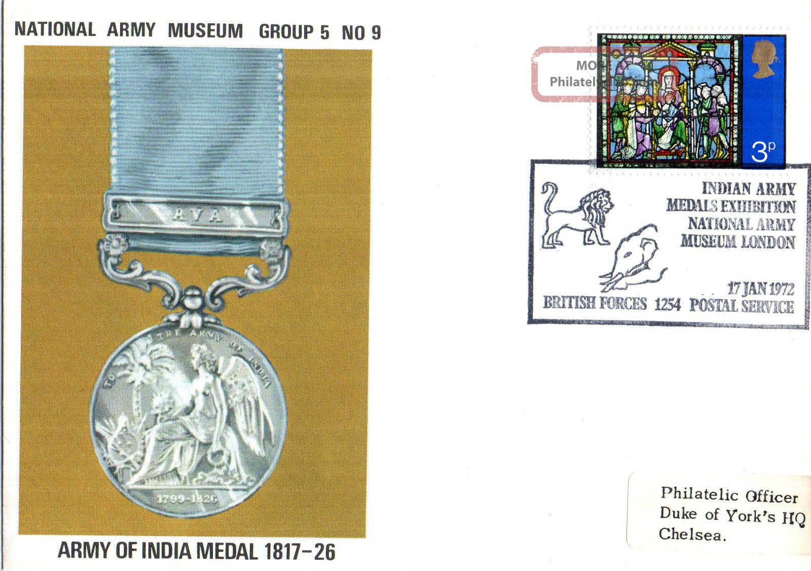 1972 Army Of Indian Medal 1817 - 26 5/9 Army Museum Commemorative Cover Shs Topical Stamps photo