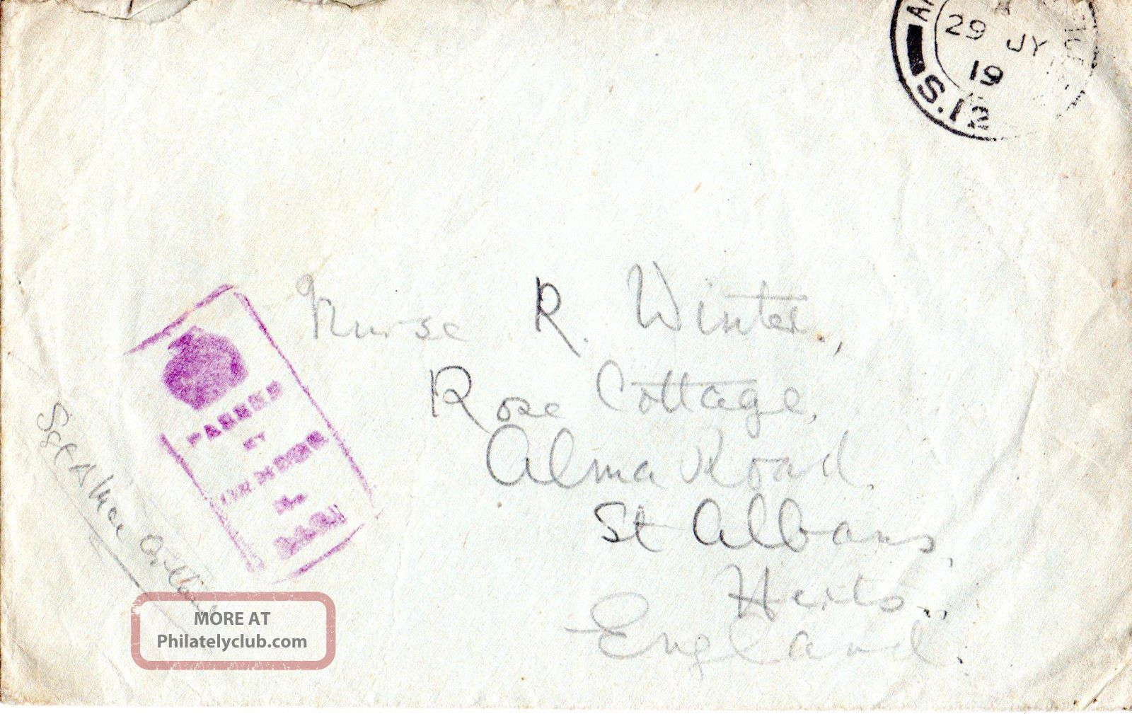 Gb 29 July 1919 World War 1 Soldiers Post Envelope Field Post Office & Censor Topical Stamps photo