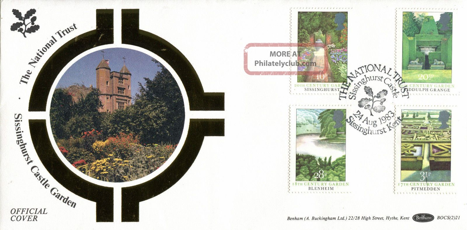 24 August 1983 British Gardens Benham Bocs (2) 21 First Day Cover Sissinghurst Topical Stamps photo