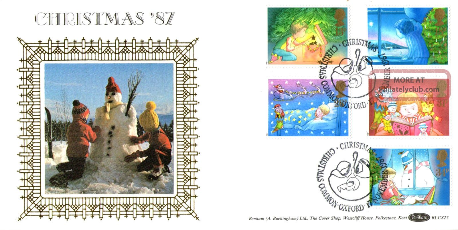17 November 1987 Christmas Benham Blcs 27 Fdc Christmas Common Oxford Shs Topical Stamps photo