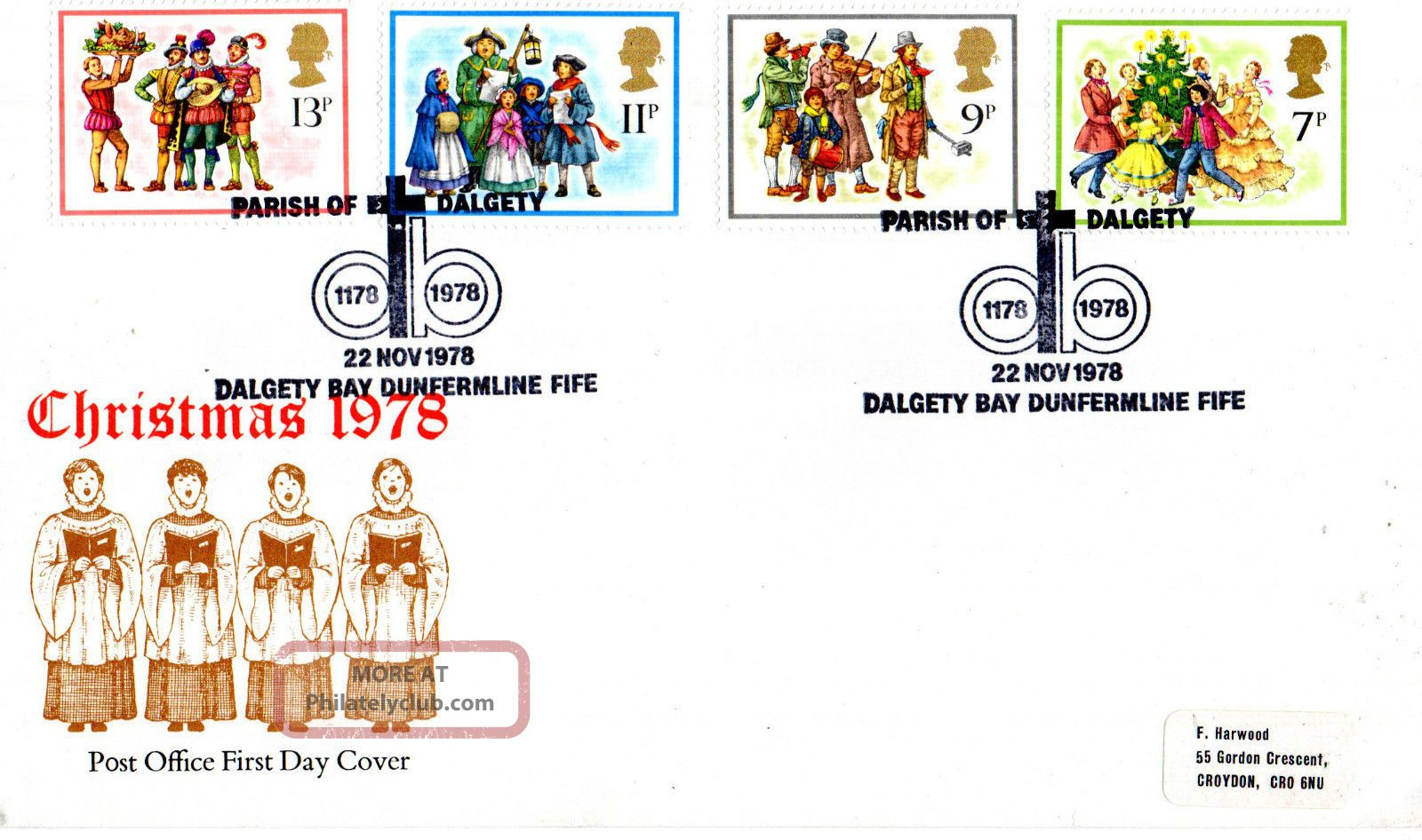 22 November 1978 Christmas Post Office First Day Cover Parish Of Dalgety Shs Topical Stamps photo