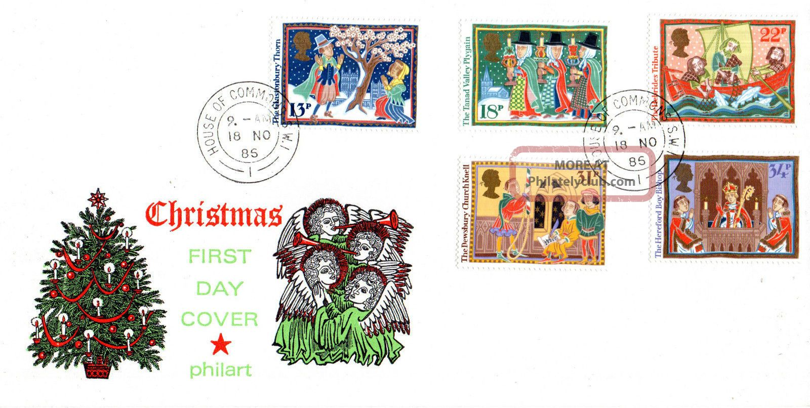 18 November 1986 Christmas Philart First Day Cover House Of Commons Sw1 Cds Topical Stamps photo