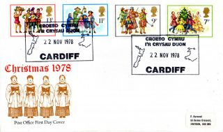 22 November 1978 Christmas Post Office First Day Cover Ir Crysau Dijon Cardiff photo