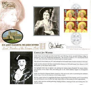 4 August 2000 Queen Mother Full Pane 4 Benham Signed Speaker Of Cinque Ports photo