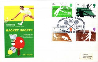 12 January 1977 Racket Sports Philart First Day Cover Squash Rackets Harrow Shs photo