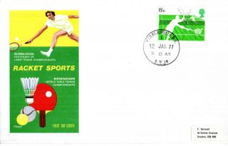 12 January 1977 Racket Sports Philart First Day Cover Wimbledon Sw Sdo Cds photo