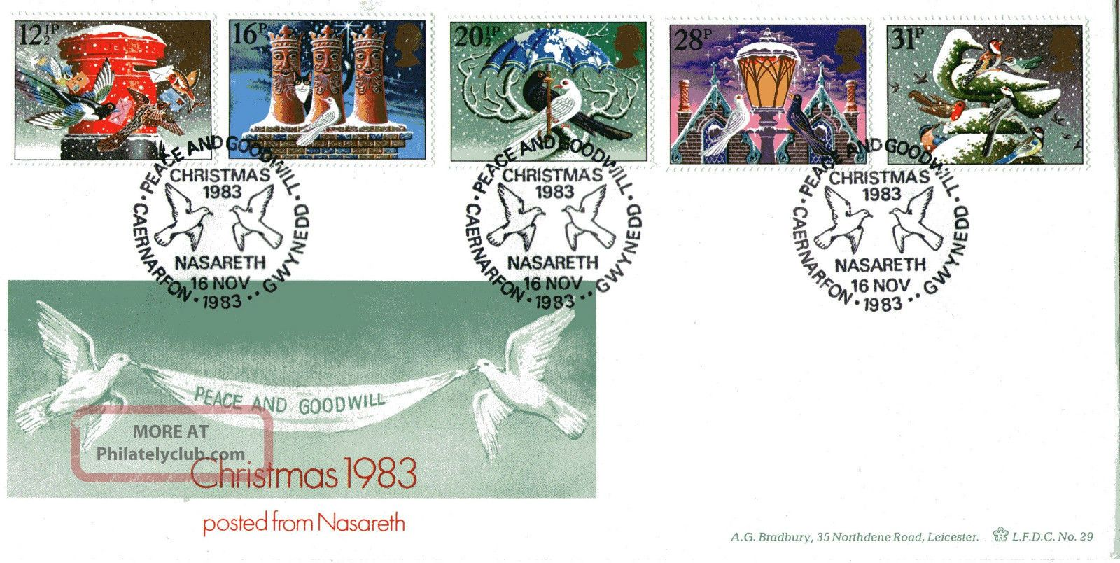 16 November 1983 Christmas Scarce Bradbury Le First Day Cover Nasareth Shs Topical Stamps photo