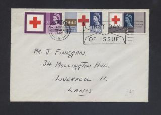 Qe2 1963 Sg642p - Sg644p Phosphor Fdc,  Cat £95 Red Cross Centenary Conference photo