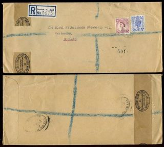 Gb Kg6 + Qe2 Bank Of British West Africa Perfins Type 2 Registered To Holland photo