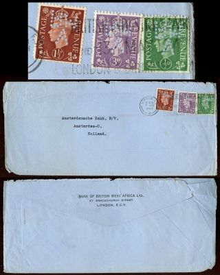 Gb Kg6 Bank Of British West Africa Perfins 5d Rate To Holland 1949 photo