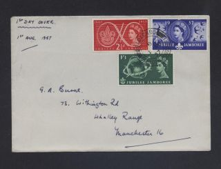 Qe2 1957 Sg557 - Sg559 Fdc,  Cat £28 World Scout Jubilee Jamboree, photo