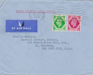 Gb : Imperial Airways North Atlantic Air Service Cover To York (1939) photo