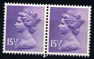 B764 Gb 1982 Sg.  X907eu (pair) 15.  1/2p Pale Violet (2 Bands) Machin photo
