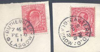 Scotland Rutherglen+ Edo 1911 - 12 Outstanding Pmks On 1d photo