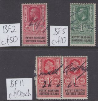 334 Gb Revenues Gv & Qe2 Northern Ireland Petty Sessions 1s Values C£80 (4) photo