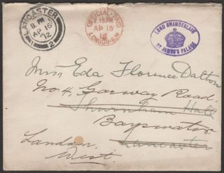 Kgv 1912 Official Paid Lord Chamberlain Redirected Cover Official Paid Mark photo