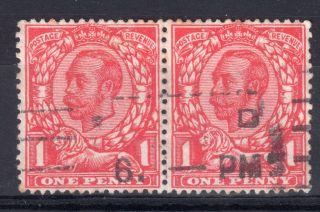Gb = G5 1d Mackennal,  Sg345a `no Cross On Crown` In Horizontal Pair. photo