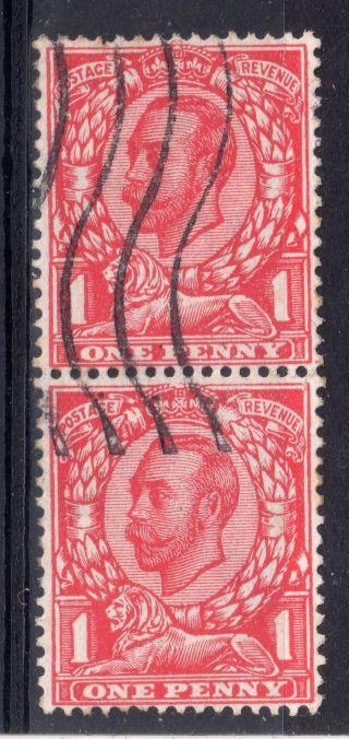 Gb = G5 1d Mackennal,  Sg345a `no Cross On Crown` In Vertical Pair. photo