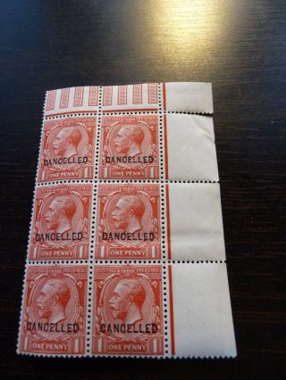 Sg Spec N16w George V Cancelled Type 24 Block Of 6 1d Red Um / Mm Cat £480 photo