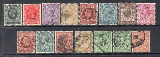 George V X 15 Different Perfins See Scans For Detail & Etc photo