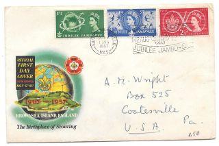 Fdc World Scout Jamboree Gb Qeii 1957 Sc 334 336 Sg 557 559 Db Cachet Cover photo