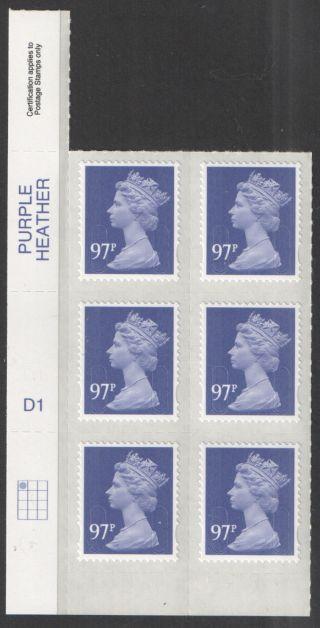 2014 Tariff M14l 97p Purple Heather Machin Cylinder D1 D1 (d1) Block Of 6 photo