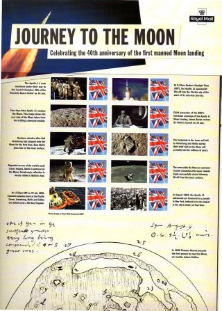Cs4 2009 Journey To The Moon Royal Mail Commemorative Smilers Sheet photo