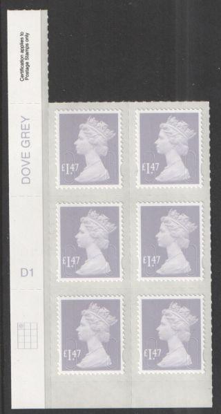 2014 Tariff M14l £1.  47 Dove Grey Machin Cylinder D1 D1 (d1) Block Of 6 photo