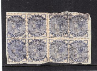 Gb 1883 ½d Blue Sg187 X 8 On Small Piece Perfin With ' Un / Co ' Ref:y754 photo
