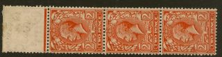Gb : 1912 2d Simple Cypher Pale Orange Strip Postag Wmk Sg 19 (4) Yb photo
