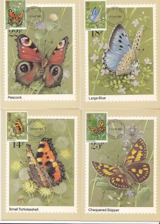 (32406) Gb Phq Fdi Butterflies Maxicard / Postcard - Luton 13 May 1981 photo