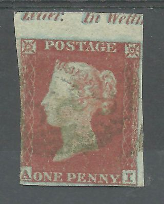 Sg8 - 12 1841 Penny Red (ai) With With Green Cancel And Top Margin Cat £5,  000 photo